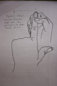 agresif enerjinin tırnak dibinden diğer elin baş parmağıyla sıyırarak atılması